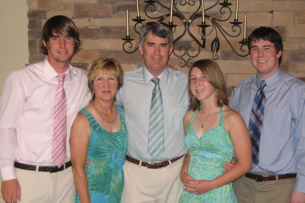 Tim Darcey posed with his family.