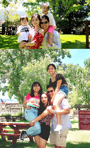 Photos of Malyna Phan with her family at a park.